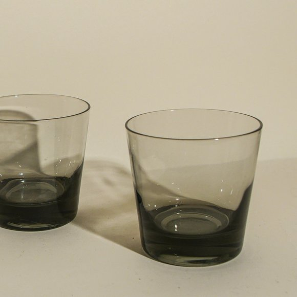 Art Deco Smoke Grey Low Ball Glasses Pair (2)